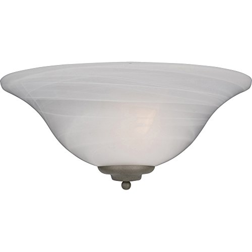 Maxim 20582MRPE Essentials 1-Light Wall Sconce, Pewter Finish, Marble Glass, MB Incandescent Incandescent Bulb , 40W Max., Dry Safety Rating, 2900K Color Temp, Standard Dimmable, Glass Shade Material, 9000 Rated Lumens - Iron Pewter Chandelier