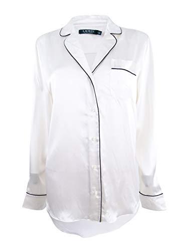 - LAUREN RALPH LAUREN Womens Kiyana Silk Piped Button-Down Top Ivory L
