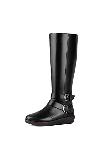 FitFlop Women's Noemi Double Buckle Knee-High Boots (Leather), Black, Size 6
