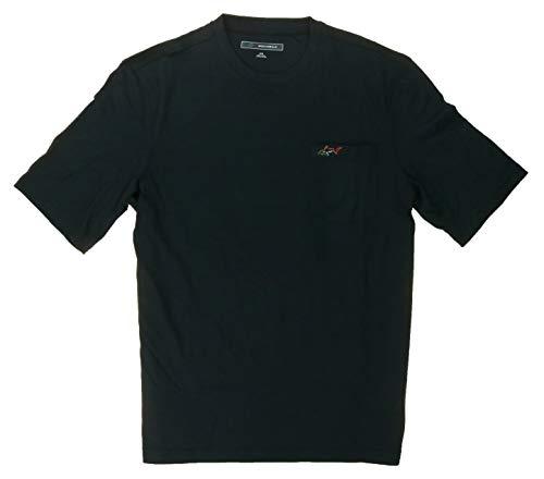 Greg Norman Men's 100% Cotton T-Shirt with Chest Pocket (Medium, Black)