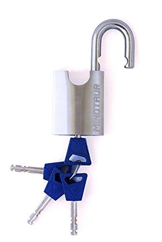Minotauro alta seguridad acero inoxidable disco Detainer candado con grueso candado de llave con horquilla cerrada: Amazon.es: Bricolaje y herramientas