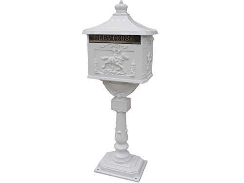 Mail Box Heavy Duty Mailbox Postal Box Security Cast Aluminum Vertical Pedestal/WHITE