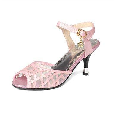 LvYuan Mujer-Tacón Stiletto-Innovador Zapatos del club-Sandalias-Vestido Informal Fiesta y Noche-Materiales Personalizados Tul-Rosa Blanco Beige beige