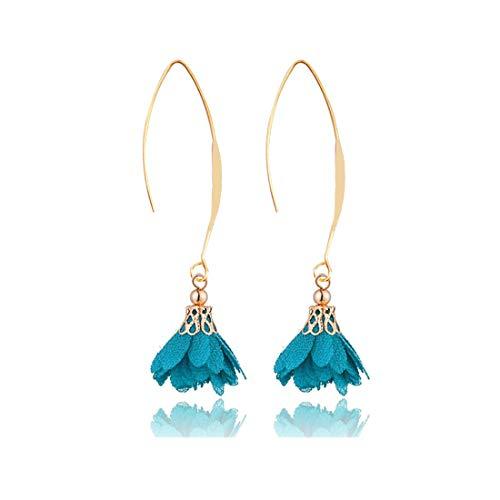 JUESJ Elegant Long Fabric Flower Pendant Ear Hook Earrings for Women Girls Party Gifts (Green) ()