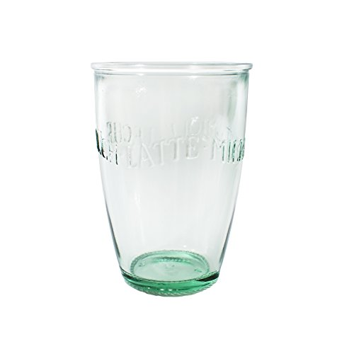 Amici Home Z7AI8130S6R Euro Milk Recycled Green Glass Drinkware Italian Made, 13 Fluid Ounce Capacity Each Each, Set of 6, Clear