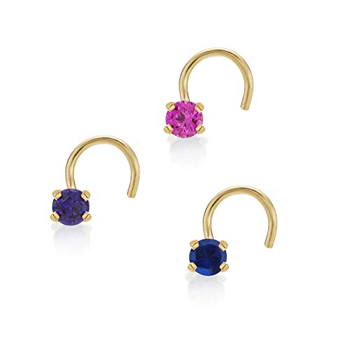 Lavari - 14K Yellow Gold 2mm Created Pink Blue Purple Sapphire Nose Ring Set