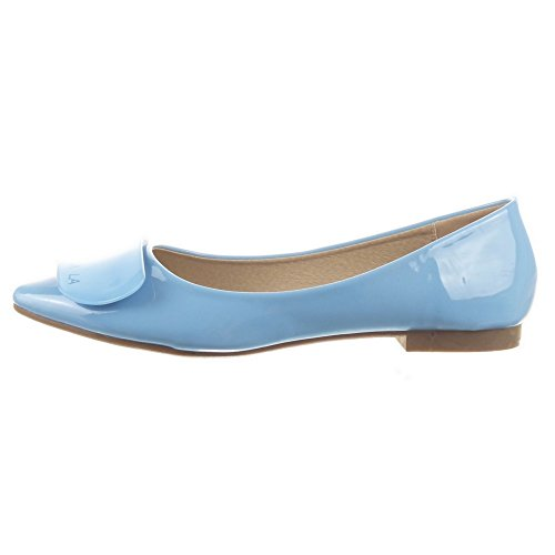 Das Bailarina Brilhante Sopily Mulheres Sapatos Da Moda Azul YqwWxp6TP