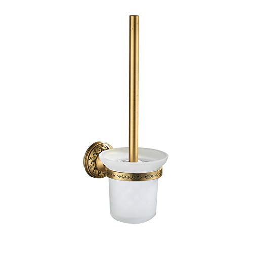 Antique Brass Bathroom Accessories Set Shelf Towel Bar Cup Holders Hairdryer Rack Tissue Holder Roll Paper Holder Soap Dish ABS-014-1 (Brass Holder Toothbrush Series)