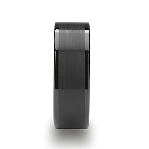 VULCAN Flat Black Tungsten Ring with Brushed Center & Polished Edges - 8mm (14) by Thorsten Rings (Image #1)