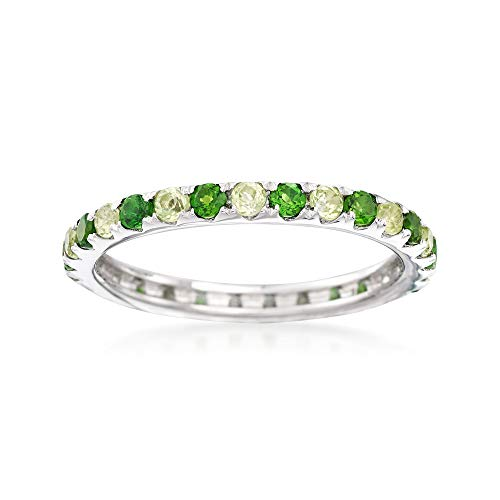 Ross-Simons 0.50 ct. t.w. Chrome Diopside and .50 ct. t.w. Peridot Eternity Ring in Sterling Silver
