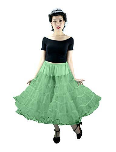 Melonie Tea Length Net Crinoline - for Stiff Structured Support Under Vintage Clothing Rockabilly or Wedding/Formal Dress Mint Green ()