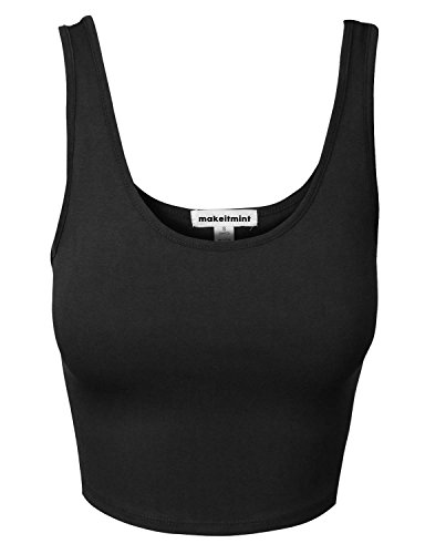 makeitmint Women's FREESIZE Scoopneck Racerback Crop Tank Top Medium YIK0018_05Black