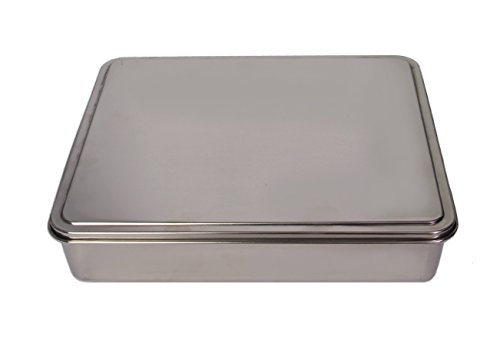 YBM HOME Stainless Steel Covered Cake Pan, Silver (Medium-2402)