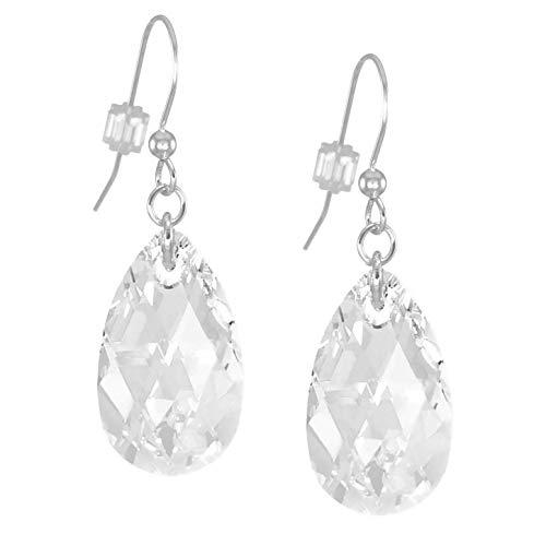 Large Swarovski Clear Crystal Teardrop Sterling Silver Earrings