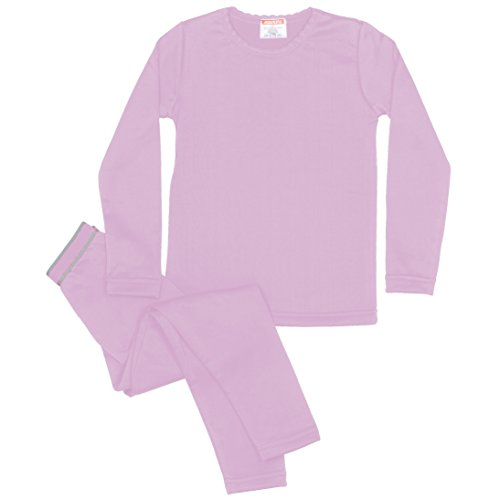Rocky Girls Fleece Lined Thermal 2PC Underwear Set Top and Bottom (L, Lavender)