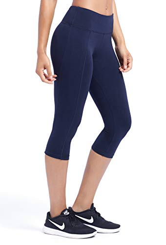 Marika Carrie Slimming Capri Leggings - with Power Mesh Lining and Coolmax Gusset - Stretchy Cotton Blend Fabric Midnight Blue