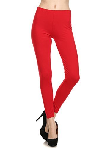 always-womens-solid-color-full-length-high-waist-leggings-red-one-size