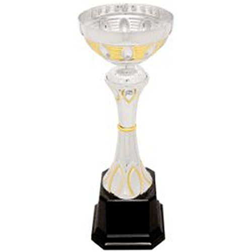 Cup Trophy, Silver and Gold - Metal Cup Corporate Award - 9.75 Inch Tall - Customize Now - Decade Awards