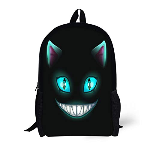 Pinbeam Backpack Travel Daypack Blue Fantasy Scary Smiling Cat Face on Cheshire Waterproof School Bag ()