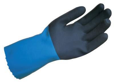MAPA StanZoil NL-52 Neoprene Mediumweight Glove, Chemical Resistant, 14'' Length, Size 10, Black/Blue (Bag of 12 Pairs)
