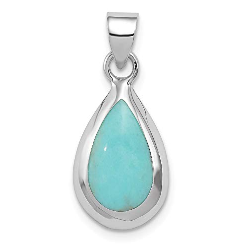 925 Sterling Silver Lab Created Blue Turquoise Teardrop Pendant Charm Necklace Natural Stone Fine Jewelry Gifts For Women For Her