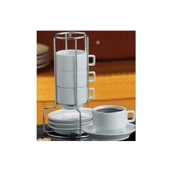 HIC 9-Piece Stackable Espresso Coffee Tea Set, Fine White Porcelain, Set Includes 4 (4-Ounce) Cups with Matching Saucers and Metal Stand, Gift Boxed