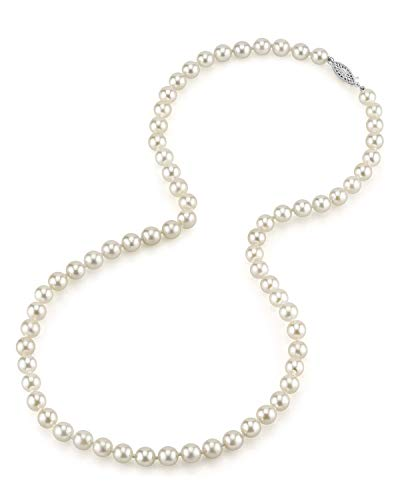 THE PEARL SOURCE 14K Gold 6.0-6.5mm AAA Quality Round Genuine White Japanese Akoya Saltwater Cultured Pearl Necklace in 16