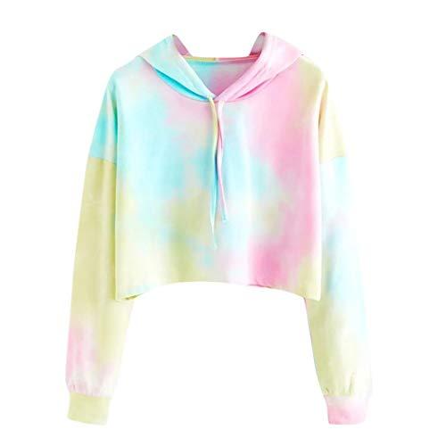 (Women's Short Hoodie,Printed Colorful Patchwork Sweatshirt ANJUNIE Long Sleeve Pullover Shirt Tops(Sky Blue,L)