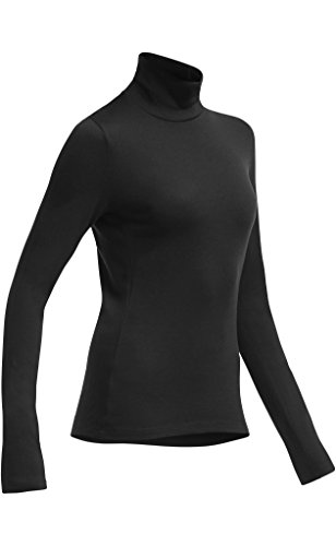 Icebreaker Shirt Unterhemd langarm Tech Long Sleeve Turtleneck - Top interior térmico para mujer, color negro, talla L negro