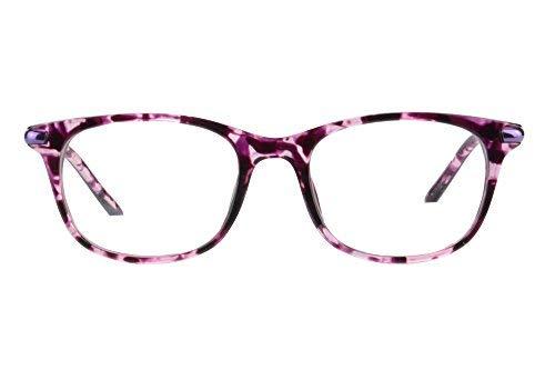 MEDOLONG Women's Asymptotic Multifocal Glasses Horn Rimmed Readers Progressive Multifocus Computer Reading Glasses-RG17(purple demi,up+1.50,down+3.50)
