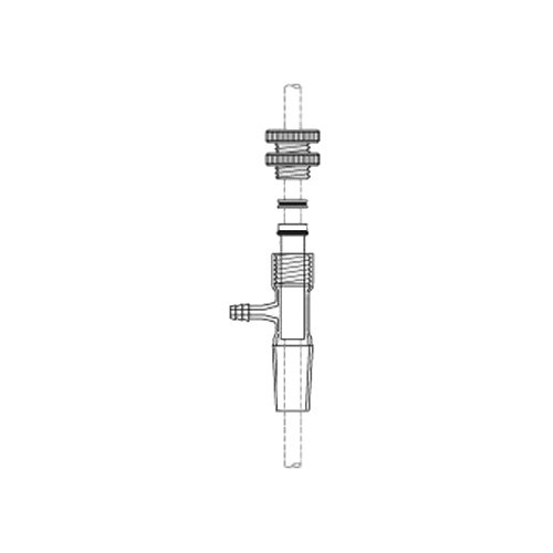 Image of Adapters ACE Glass 8066-130 Bearing, Straight Adapter Style with Hose Connection Port, Complete, 24/40 Joint, 10 mm Diameter