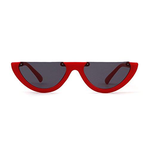 sol Marco Rojo Lente Retro de Mujer Gafas Gris Frame Mod Gafas ADEWU Vintage 1 Clout Gafas Eyewear Half wEF6C1aq