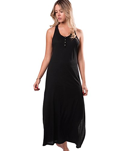 Naked Womens Pima Cotton Casual Maxi Dress Loungewear with Mesh Back - Black, (Taylor Sleeveless Colorblock Dress)