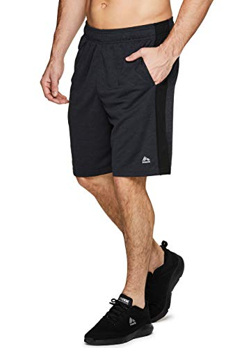 RBX Active Men's Mesh Colorblock Athletic Gym Shorts with Pockets CB Black M