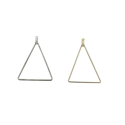 30 Pcs Triangle Shaped Beading Hoop Earring Finding for Earring Jewelry Making (Gold Silver)
