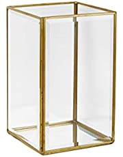 Serene Spaces Living Beveled Glass Gold Hurricane with Mirror Bottom, Glass Candle Box for Wedding Centerpieces, Party, Christmas, Thanksgiving Dinner, Holiday Decor, in Various Shapes