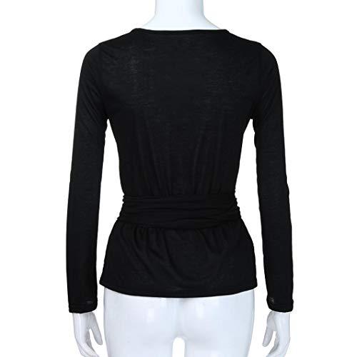 Shirt Tops ABCone Sciolto Donna Casual Elegante Pullover Vendita T Nero Lunghe di Collo V Maniche Bendaggio Camicette Autunno Solido liquidazione Camicie qHFqPwxfp