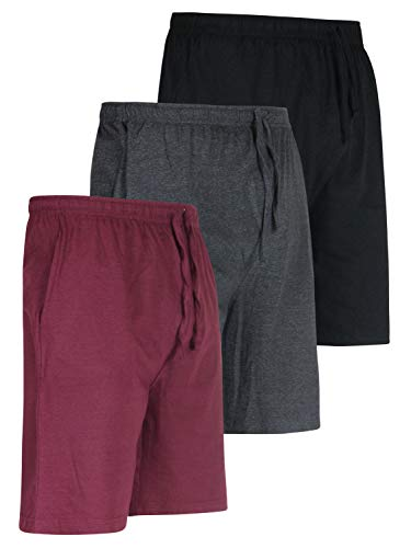 Shorts Bottoms Shorts (3 Pack:Men's Jersey Knit Cotton Pajama Bottoms Shorts Sleep Bamboo Modal Lounge Wear PJ-Set 4,S)