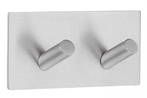 Smedbo Design Double Hook Self Adhesive Brushed Stainless -