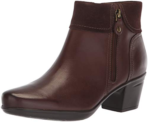 CLARKS Women's Emslie Twist Fashion Boot, Brown Leather/Suede Combi, 110 W - For Women Clark Shoes Boots