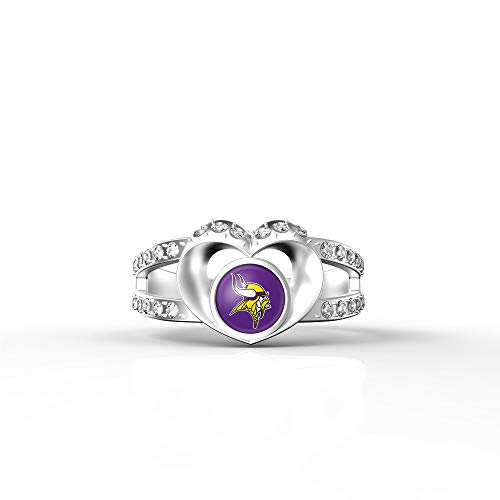 MT-Sports store NFL Heart Shaped Lady Ring Lady Exquisite Heart Shaped Ring(8S.Minnesota Vikings)