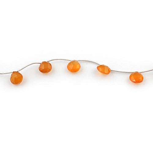 KALISA GEMS Beads Gemstone 1 Strand Natural Carnelian Faceted Briolettes - Cornelian Heart Shape Beads 12mmx11mm 8 Inches