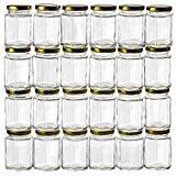 jar glasses - GoJars Hexagon Glass Jars for Gifts, Weddings, Honey, Jams, and More (24, 3oz)