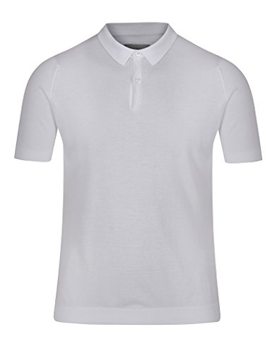 (John Smedley Men's Rhode Sea Island Cotton Polo, White, Large)