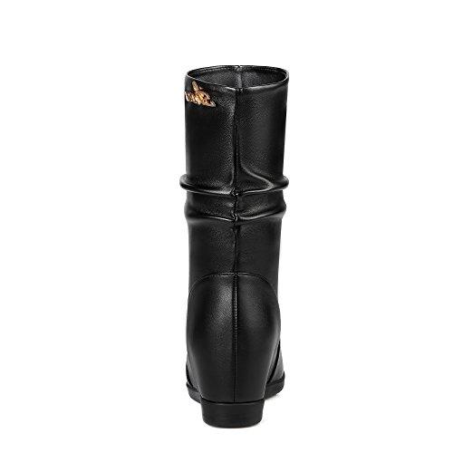 Ankle YE mit Boots Absatz Schwarz Damen Schuhe Warm Stiefeletten Plateau 5cm Bequem Keilabsatz YrSExwS