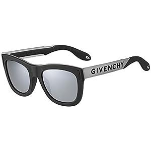 Sunglasses Givenchy Gv 7016 /N/S 0BSC Black Silver / T4 black mirror lens