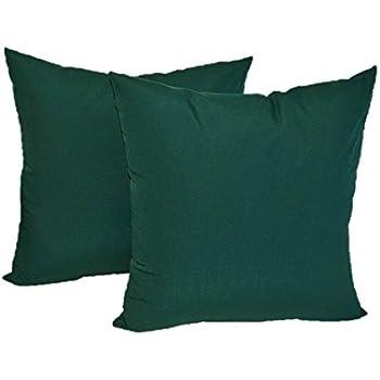 "Set of 4 Indoor / Outdoor Pillows - 2 Square Pillows & 2 Rectangle / Lumbar Decorative Throw Pillows - Solid Hunter / Forest Green - Choose Size (17"" x 17"" square & 11"" x 19"" lumbar)"