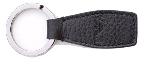 Emporio Armani Leather Key Ring Y4R052, Black, in Gift Box, Made in Italy