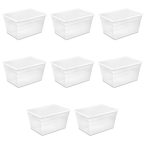 (Sterilite 16598008 56 Quart/53 Liter Storage Box, White Lid w/ Clear Base, 8-Pack)