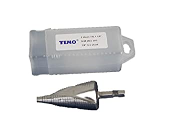 to 1-3//8 inch 34.9mm TEMO M35 Cobalt Double Flute Step Drill 10 Size from 13//16 inch 1//2 inch Shank 12.7mm 20.6mm